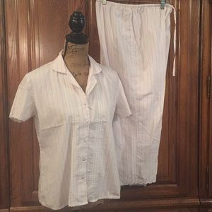 Nautica Pink & White Striped Pajamas Size Medium
